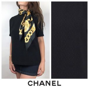 Chanel Black Short Sleeve Zip Back Blouse